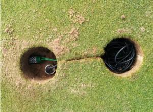 Aspecto de la instalación de los sensores en campo de golf.