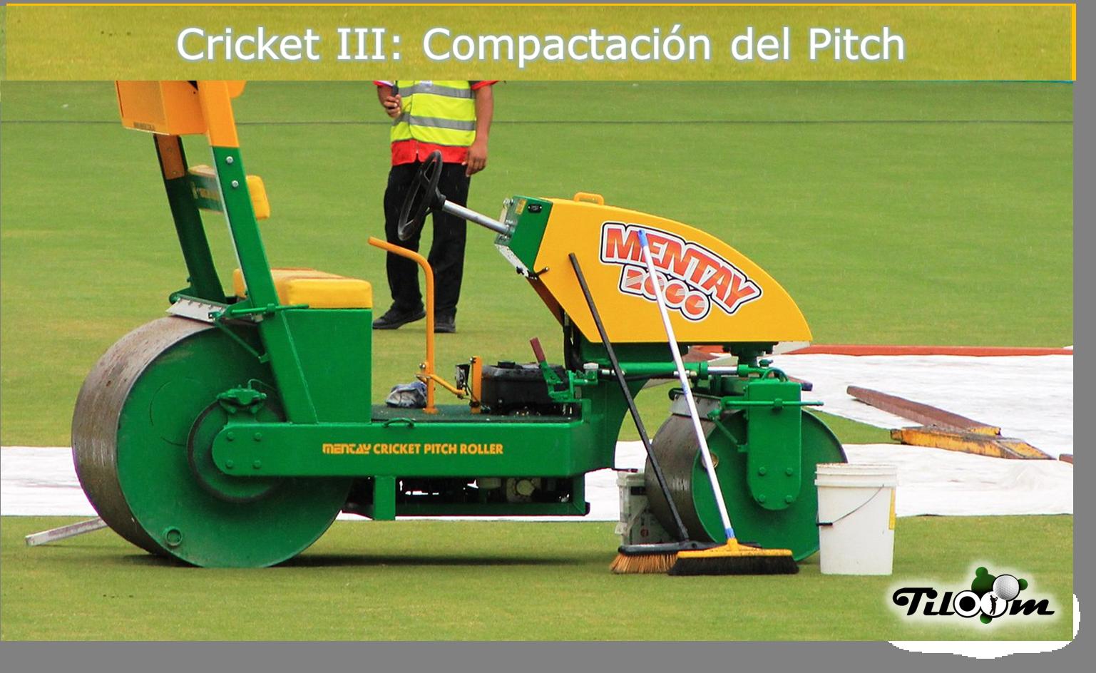 pitch roller en campo de cricket
