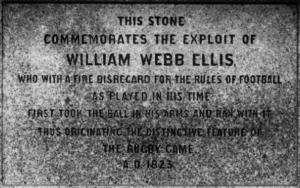 Inicios del Rugby: Piedra conmemorativa de los inicios del Rugby